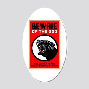 Beware Of Dog 20x12 Oval Wall Decal