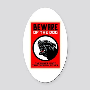 Beware Of Dog Oval Car Magnet
