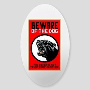 Beware Of Dog Sticker (Oval)