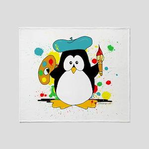 Artistic Penguin Throw Blanket