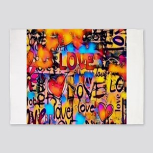 Graffiti Love 5'x7'Area Rug