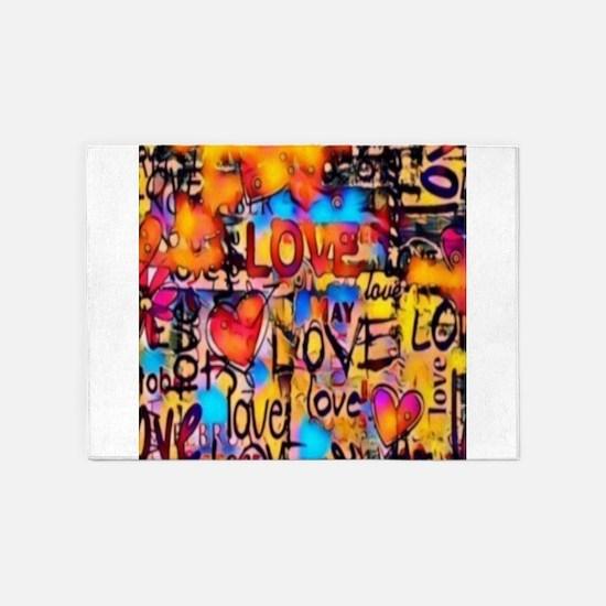 Graffiti Love 5'x7'Area Rug