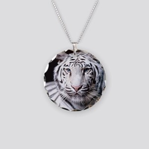 White Bengal Tiger Necklace Circle Charm