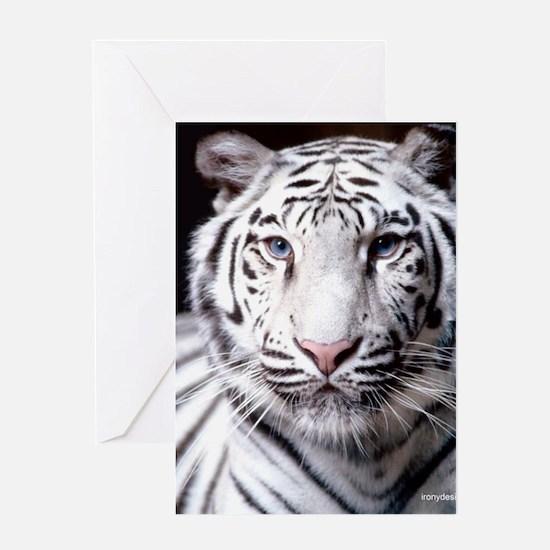 White Bengal Tiger Greeting Cards