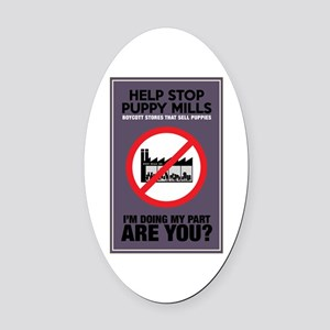 Stop Puppy Mills Oval Car Magnet