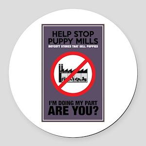 Stop Puppy Mills Round Car Magnet