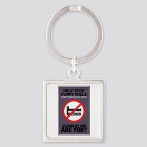 Stop Puppy Mills Square Keychain