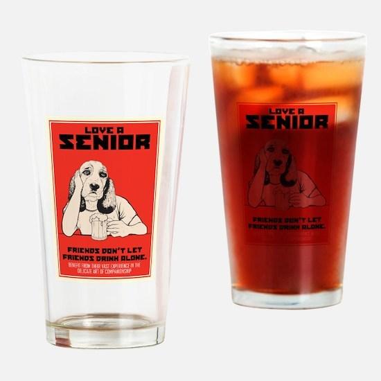 Love A Senior Dog Drinking Glass