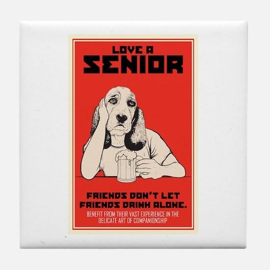 Love A Senior Dog Tile Coaster