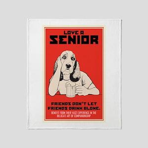 Love A Senior Dog Throw Blanket