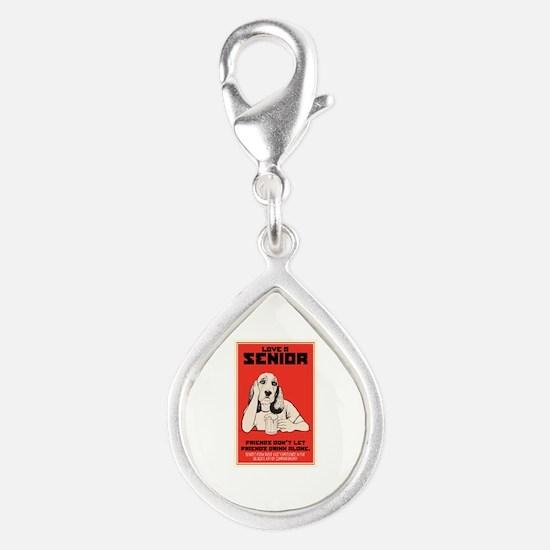 Love A Senior Dog Silver Teardrop Charm