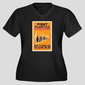 Fight Injust Women's Plus Size V-Neck Dark T-Shirt
