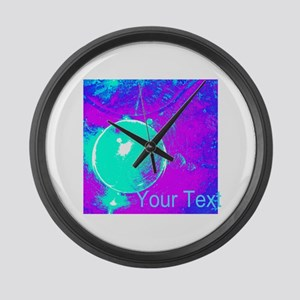 Personalizable Teal Purple Abstract Large Wall Clo