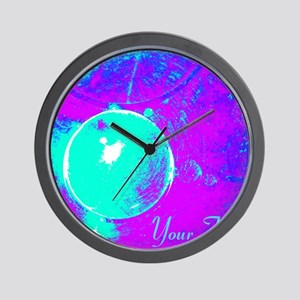 Personalizable Teal Purple Abstract Wall Clock