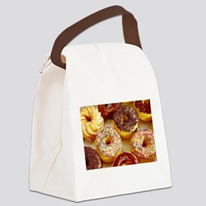 Assorted delicious donuts Canvas Lunch Bag