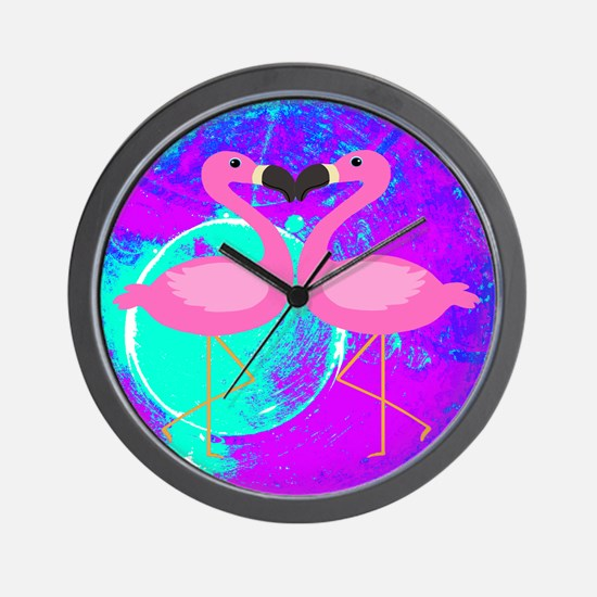 Pink Flamingo Teal Blue Purple Abstract Wall Clock
