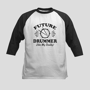 Future drummer Like My Daddy Kids Baseball Tee