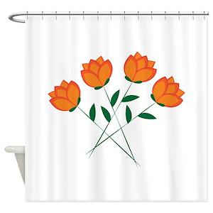 Orange Blossom Shower Curtains