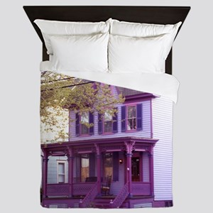 Sugar Plum Purple Victorian House 1 Queen Duvet