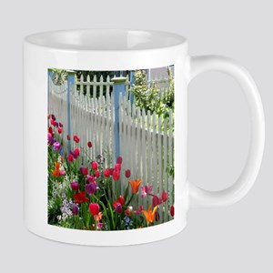 Tulips Garden along White Picket Fence 2 Mugs