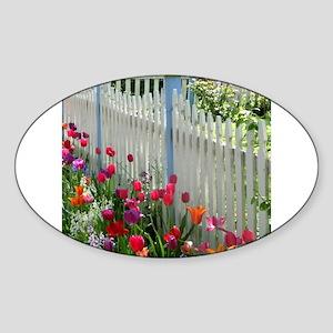 Tulips Garden along White Picket Fence 2 Sticker