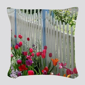 Tulips Garden along White Picket Fence 2 Woven Thr