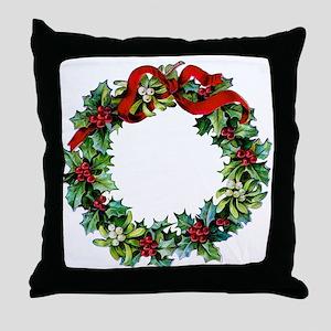 Holly Christmas Wreath Throw Pillow