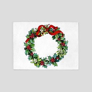 Holly Christmas Wreath 5'x7'Area Rug