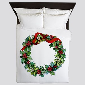 Holly Christmas Wreath Queen Duvet
