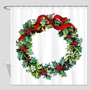 Holly Christmas Wreath Shower Curtain