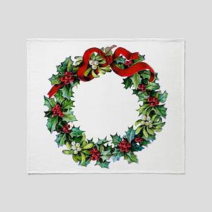 Holly Christmas Wreath Throw Blanket