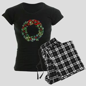Holly Christmas Wreath Women's Dark Pajamas
