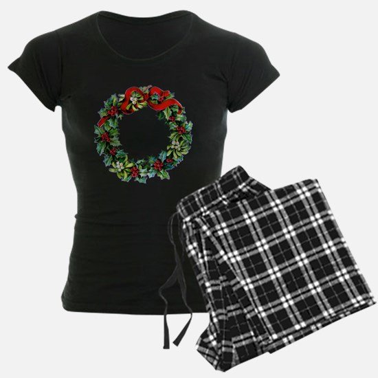 Holly Christmas Wreath Pajamas