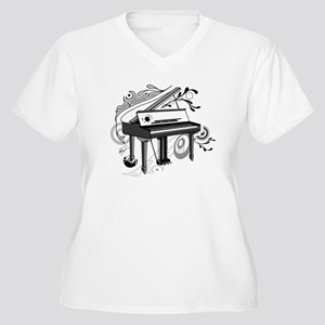 abstract piano Women's Plus Size V-Neck T-Shirt