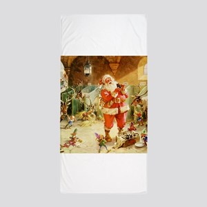 Santa in the North Pole Stables Beach Towel