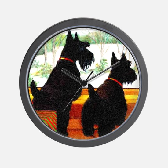 A Scottie Christmas Wall Clock