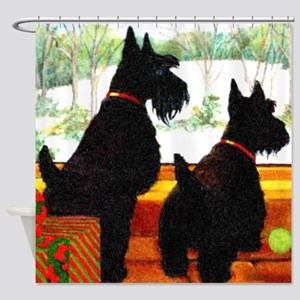 A Scottie Christmas Shower Curtain