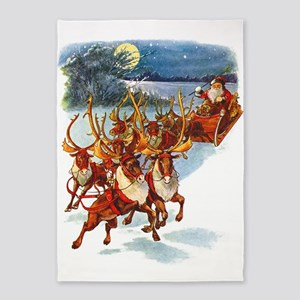 Santa & His Flying Reindeer 5'x7'Area Rug