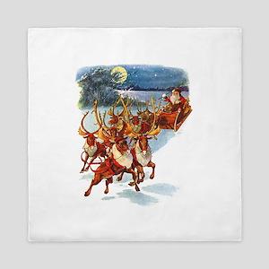 Santa & His Flying Reindeer Queen Duvet