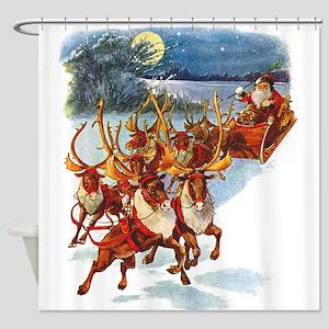 Santa & His Flying Reindeer Shower Curtain