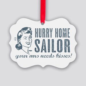 Hurry Home Sailor Picture Ornament