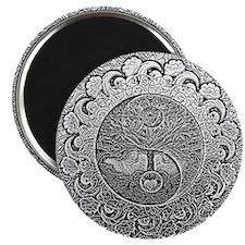 Shiny Metallic Tree of Life Yin Yang Magnets