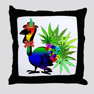 Rainbow Marijuana Thanksgiving Turkey Throw Pillow