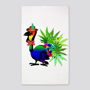 Rainbow Marijuana Thanksgiving Turk 3'x5' Area Rug