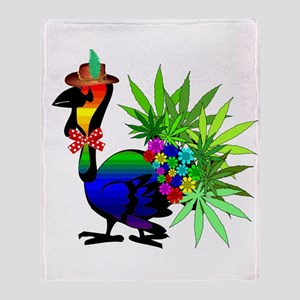 Rainbow Marijuana Thanksgiving Turke Throw Blanket