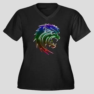 Rainbow Lion Head Plus Size T-Shirt