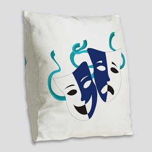 Drama Masks Burlap Throw Pillow