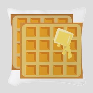 Buttered Waffles Woven Throw Pillow