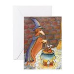 Dachshund Witch Greeting Cards
