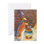Dachshund Witch Greeting Cards (10)